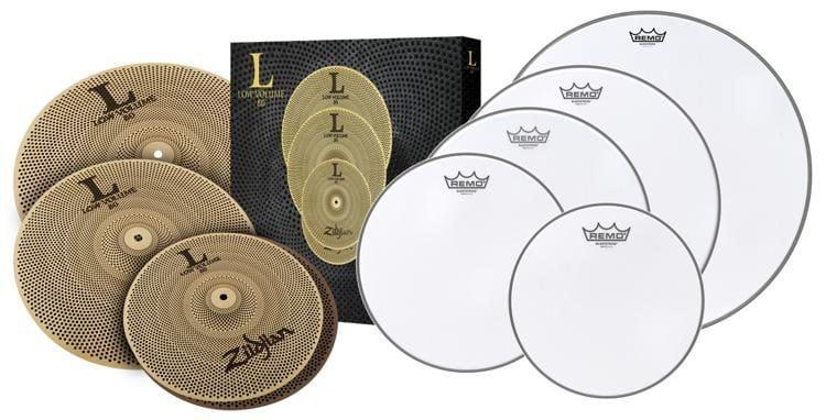Zildjian L80 Low Volume Cymbal Set Plus Remo Silentstroke Drumheads