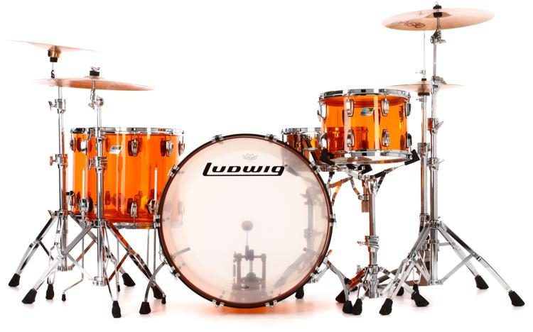Ludwig Vistalite John Bonham Zep Set Shell Pack with Snare Drum - Amber