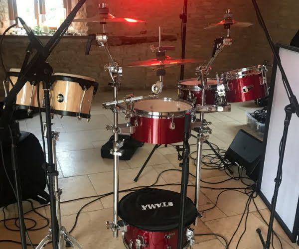 Cocktail drum kit at a show