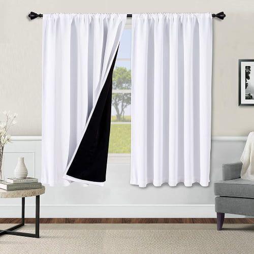 WONTEX White Soundproof Blackout Curtains